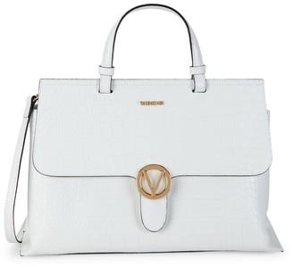 Mario Valentino Olimpia Croc-Embossed Leather Messenger Bag