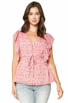 Sugar Lips Sugarlips Women's Somebody to Love Floral Ruffle TOP