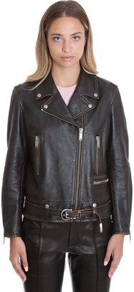 Golden Goose Andrea Leather Jacket In Black Leather