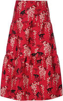 RED Valentino embroidered flared midi skirt