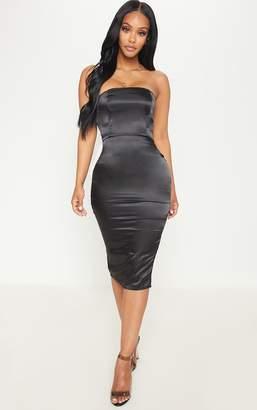 PrettyLittleThing Shape Black Satin Bandeau Midi Dress