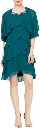 Slny Chiffon Tier Jacket Dress with Beading Neck