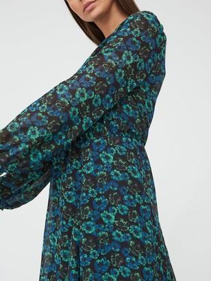 Very Round Neck Skater Mini Dress - Floral