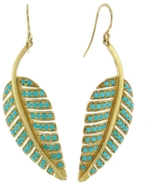 Jennifer Meyer Large Turquoise Leaf Drop Earrings in Yellow Gold