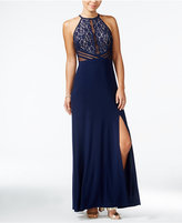 Morgan & Company Juniors' Illusion Sequined Lace Gown