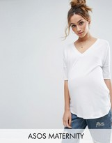 Asos Oversized T-Shirt with V Neck and Dip Back in Rib