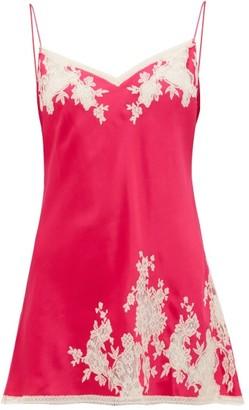 Carine Gilson Chantilly Lace-trimmed Silk-satin Nightdress - Womens - Pink Multi