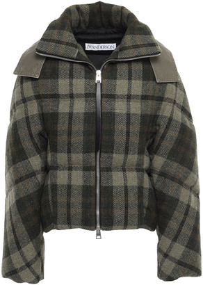 J.W.Anderson Twill-paneled Checked Wool Hooded Down Jacket