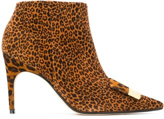 Sergio Rossi Pointed Leopard Print Boots