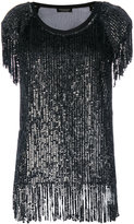 Twin-Set sequin fringed T-shirt - women - Polyester/Viscose - 40