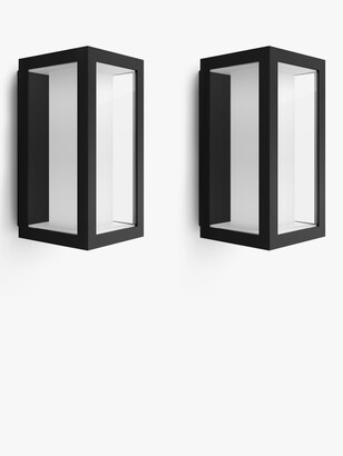 Philips Hue White and Colour Ambiance Impress LED Smart Outdoor Wall Lights, Set of 2