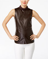 Alfani Petite Faux-Leather Mock-Neck Top, Only at Macy's