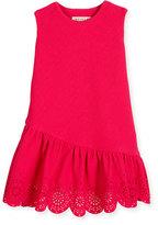 Helena Sleeveless Jacquard Laser-Cut Dress, Fuchsia, Size 2-6