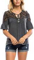 Anama Charcoal Lace-Accent Tie-Neck Top