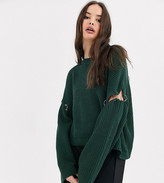 Collusion COLLUSION boxy sweater in khaki with hardware detail