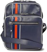 Valentino Striped Leather Messenger Bag - Blue