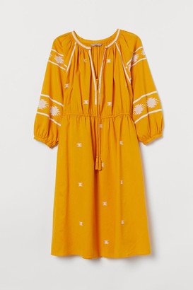 H&M H&M+ Embroidered Cotton Dress - Yellow