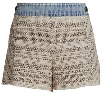 Ramy Brook Edith Mix-Media Knit Denim Shorts