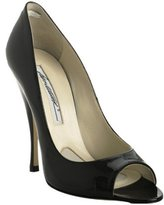 black patent 'Carla' peep toe pumps
