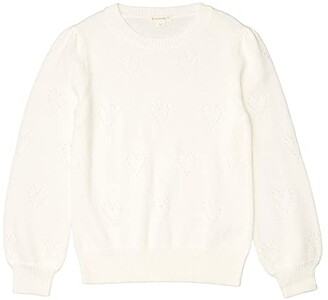 crewcuts by J.Crew Pointelle Heart Popover (Toddler/Little Kids/Big Kids) (Ivory) Girl's Clothing