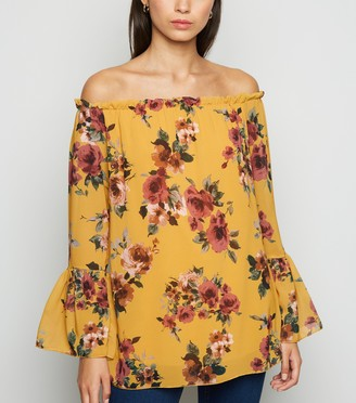New Look Mela Chiffon Floral Bardot Top
