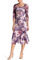 Komarov 3/4 Sleeve Square Neck Printed Dress (Petite)