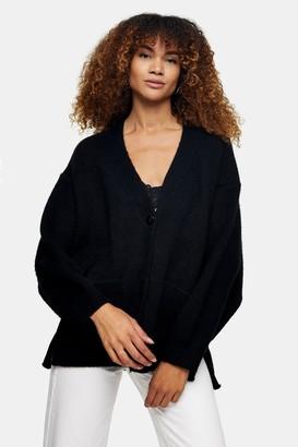 Topshop Womens Black Brushed Ribbed Midi Cardigan - Black