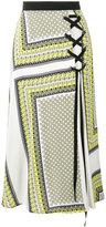 MSGM scarf print lace-up skirt - women - Silk - 40