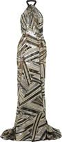 Roland Mouret Elijah metallic fil coupé chiffon gown