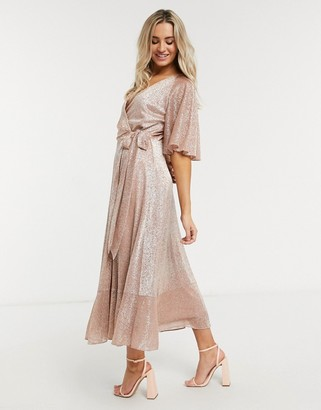 Style Cheat sparkle midi wrap dress in rose gold