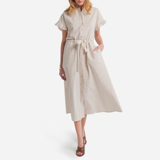 La Redoute Collections Striped Cotton Shirt Dress with Mandarin Collar