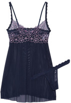Hanky Panky Dahlia Embroidered Lace-trimmed Mesh Chemise And Thong Set - Midnight blue