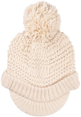 Pia Rossini Ladies Willow Hat Almond Chunky Knit Peak Brim Pom Pom Bobble Winter Accessory