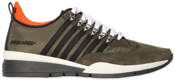 DSQUARED2 251 Striped Nylon & Suede Sneakers