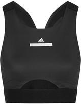 adidas by Stella McCartney Cutout Stretch-jersey And Climachill Mesh Sports Bra - Black