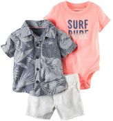 "Carter's Baby Boy Surf Dude"" Bodysuit, Tropical Shirt & Frayed Denim Shorts Set"