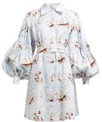 Emilia Wickstead Rowena Ship-print Shirtdress - Womens - Blue Print