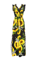 Dolce & Gabbana Sunflower Lace Detail Maxi Dress