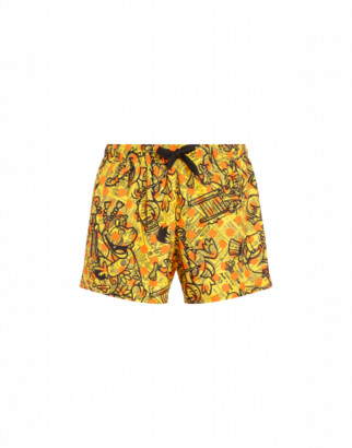 Moschino Yellow Pages Beach Boxer Man Yellow Size L It - (m Us)