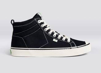 Cariuma OCA High Stripe Black Canvas Contrast Thread Sneaker Women