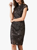 Phase Eight Jamie Metallic Lace Dress, Rose Gold