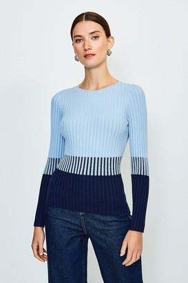 Karen Millen Colourblock Skinny Rib Jumper