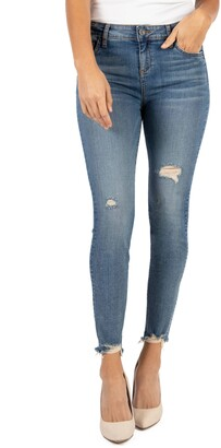 KUT from the Kloth Connie High Waist Destroyed Hem Ankle Skinny Jeans