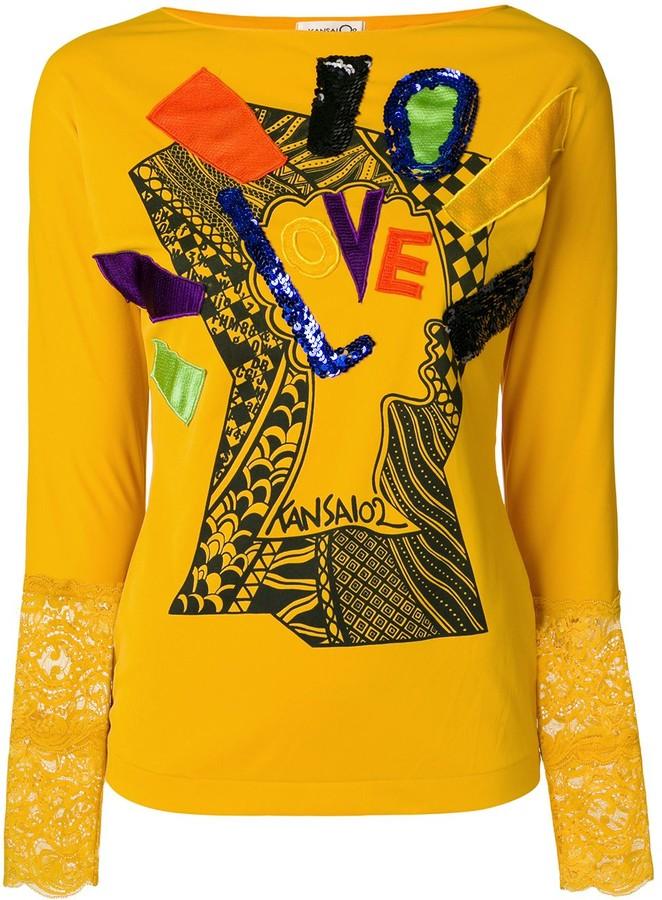 Kansai Yamamoto Pre-Owned 1990s applique-detail long-sleeve T-shirt