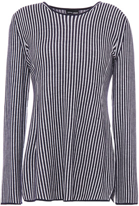 Giorgio Armani Striped Wool, Cashmere And Mulberry Silk-blend Sweater