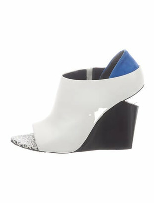 Alexander Wang Leather Colorblock Pattern Boots White