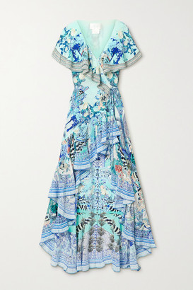 Camilla Asymmetric Crystal-embellished Silk Crepe De Chine Wrap Maxi Dress - Blue
