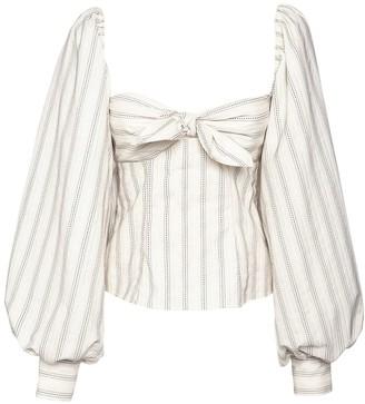 ATTICO Striped Jacquard Cotton Blend Top