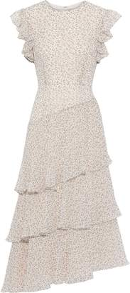 Mikael Aghal Asymmetric Tiered Floral-print Crepe De Chine Midi Dress
