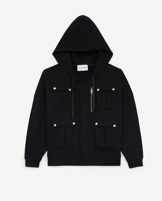 The Kooples Zipped black sweatshirt with hood and pockets